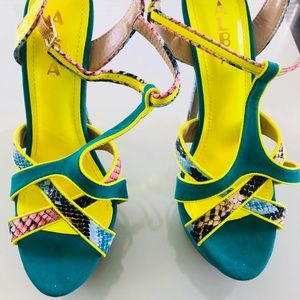 Sexy neon yellow and green python heels